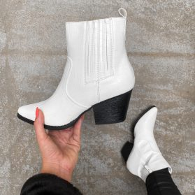 KAYLA COW BOOTS WHITE
